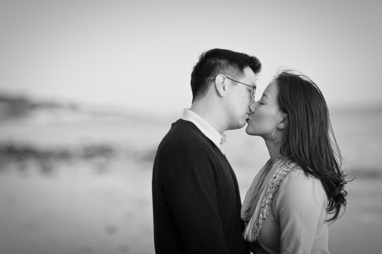 Los Angeles Engagement Session Malibu Wedding Couple Kissing on Beach