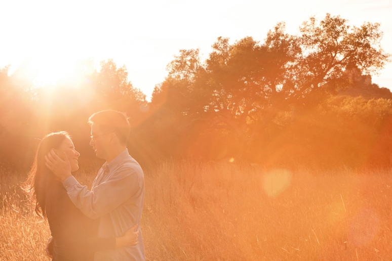 Los Angeles Engagement Session Malibu Wedding Couple in Field at Sunset