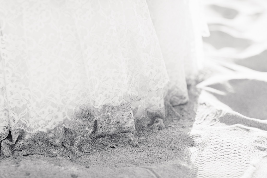 Los Angeles Marina Del Rey Vintage Lace Wedding Dress in Sand at Beach