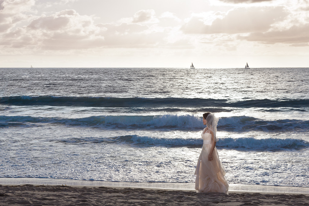 Los Angeles Marina Del Rey Bride on Beach in Blush Pink Vera Wang Wedding Gown at Sunset