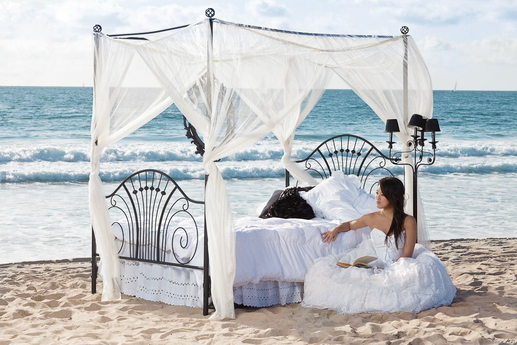 Los Angeles Marina Del Rey Beach Bride in Vintage Wedding Gown on Canopy Bed