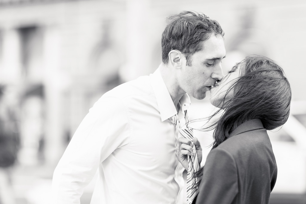 Couple Kissing During San Francisco Engagement Session in Union Square