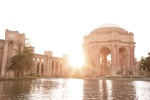 Sun flare behind the Palace of Fine Arts in San Francisco