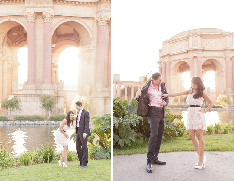 Bride laughing at groom at an Engagement Session at the Palace of Fine Arts in San Francisco