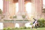 Groom dipping bride at an Engagement Session at the Palace of Fine Arts in San Francisco