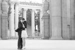Bride and groom embracing during their Engagement Session at the Palace of Fine Arts in San Francisco