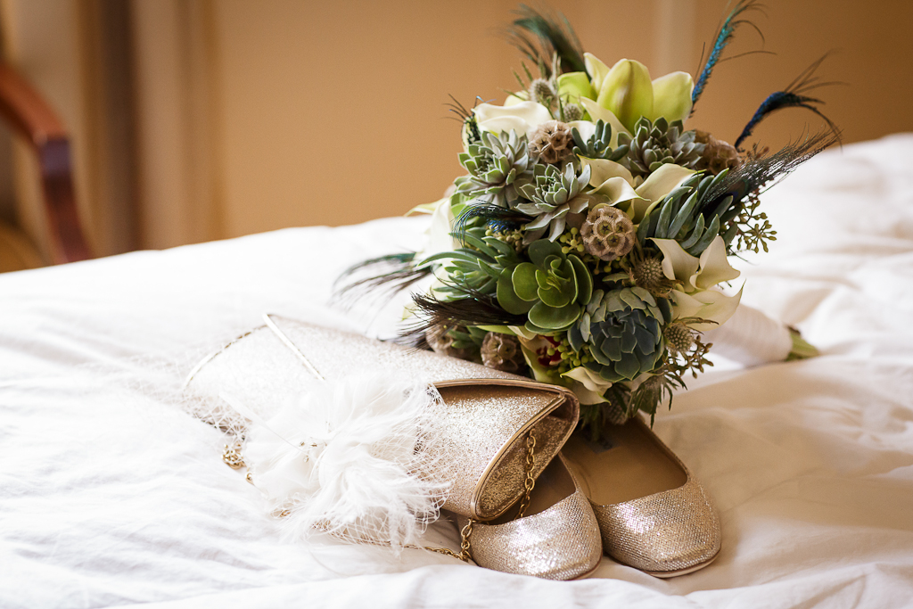 Los Angeles Wedding Photographer Art Deco Bouquet at the Millenium Biltmore Hotel