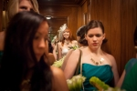Los Angeles Wedding Photographer Bride on the Elevator at the Millenium Biltmore Hotel