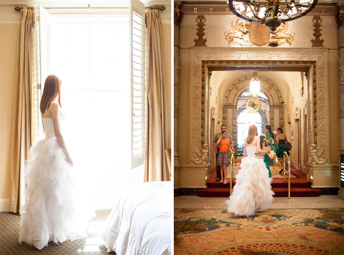 Los Angeles Wedding Photographer bride exiting the Millenium Biltmore Hotel