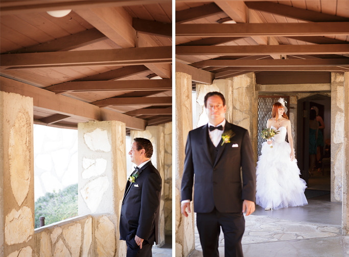 Los Angeles Wedding Photographer First Look at Lloyd Wright's Wayfarer's Chapel