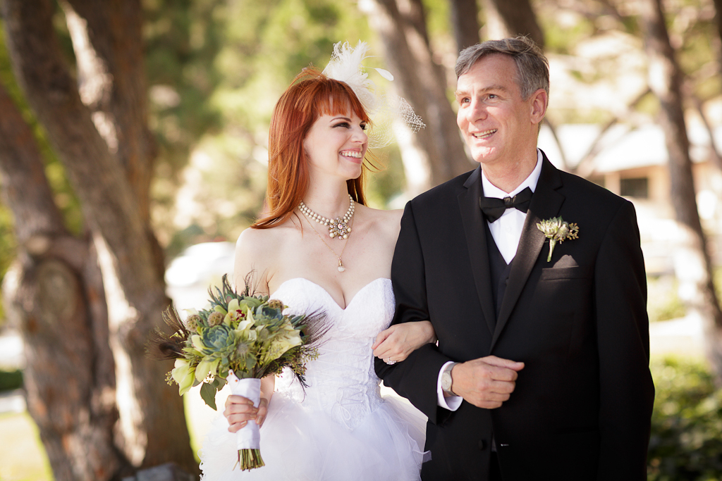 Los Angeles Wedding Photographer Bride and her dad at Lloyd Wright's Wayfarer's Chapel