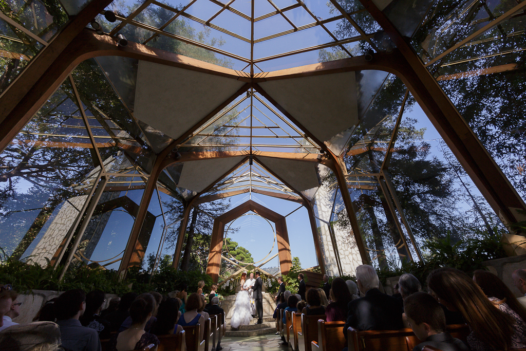 Los Angeles Palos Verdes Wedding Photographer Ceremony at Art Deco Lloyd Wright's Wayfarer's Chapel