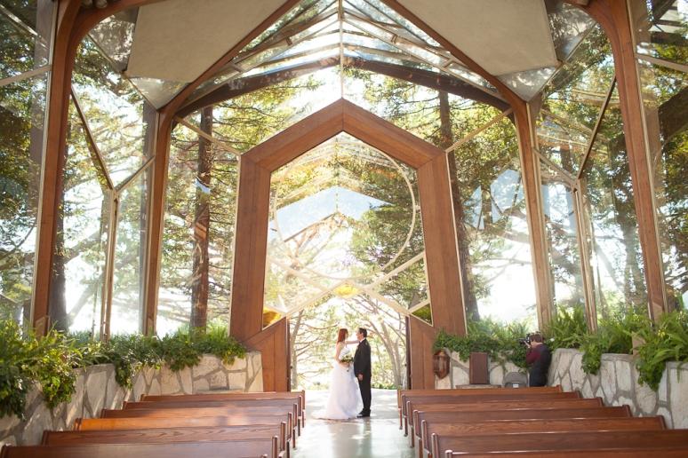 Los Angeles Palos Verdes Wedding Photographer Bride and Groom at the Art Deco Lloyd Wright's Wayfarer's Chapel