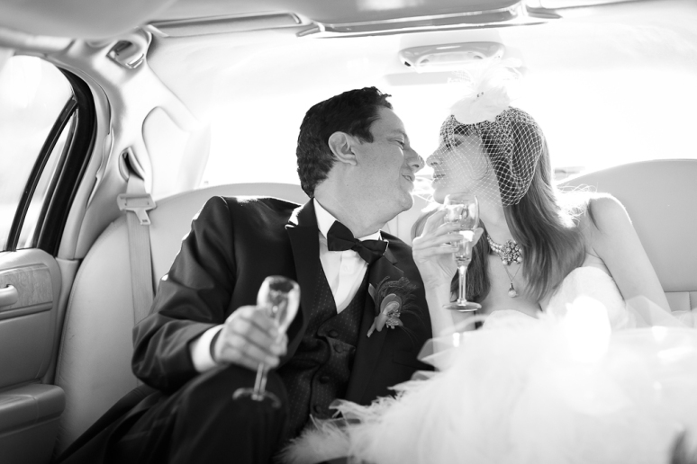 Los Angeles Palos Verdes Wedding Photographer Bride and Groom in their Limo