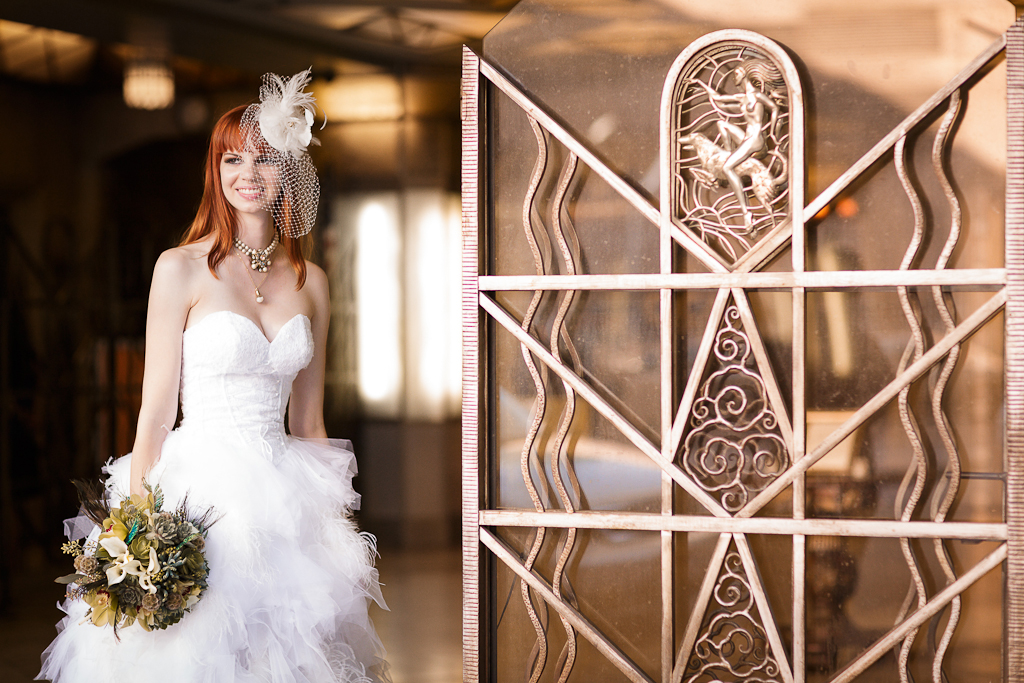 Downtown Los Angeles Wedding Photographer Bride Outside the Art Deco 1928 Cicada Restaurant for her Reception