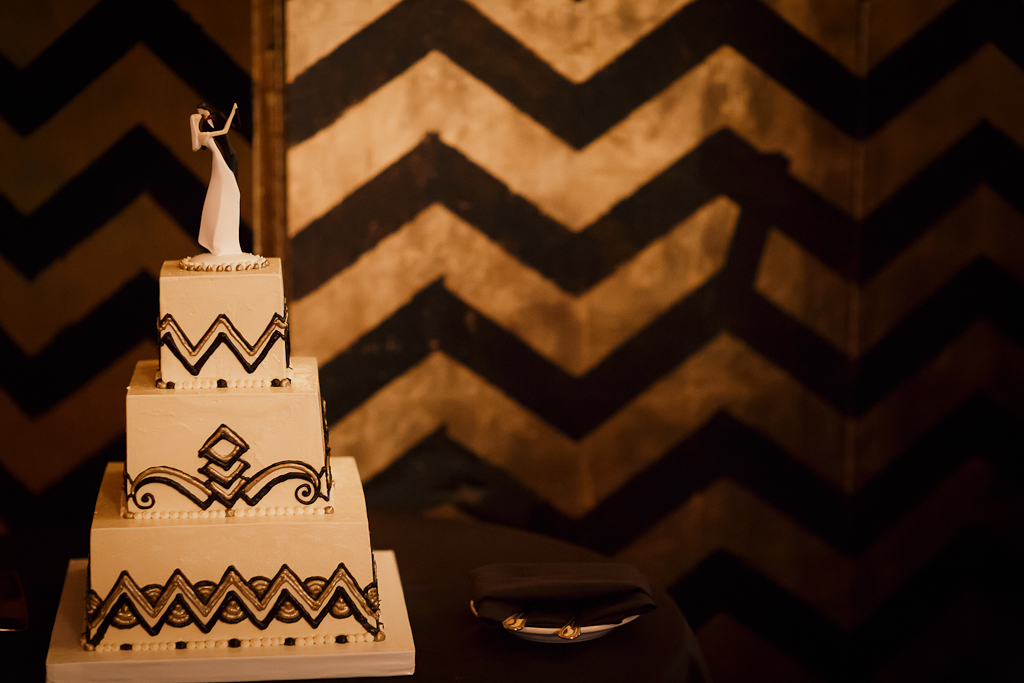 Downtown Los Angeles Wedding Photographer Art Deco Wedding Cake 1928 Cicada Restaurant