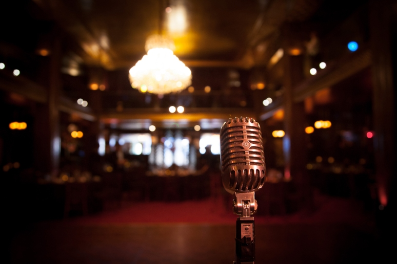 Downtown Los Angeles Wedding Photographer Vintage Microphone at the Art Deco 1928 Cicada Restaurant
