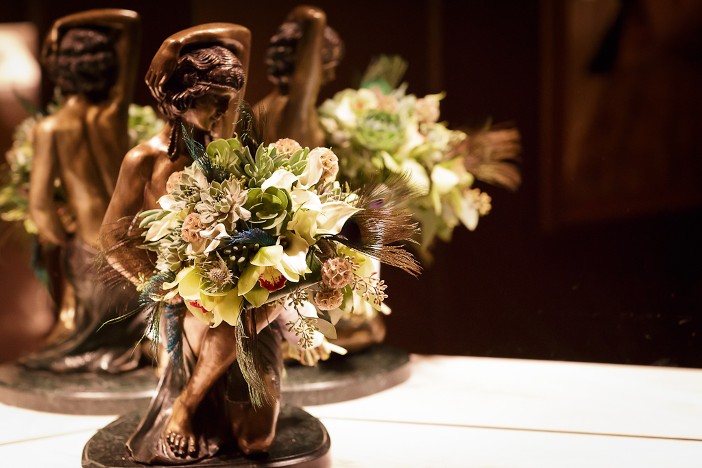 Downtown Los Angeles Wedding Photographer Art Deco Bouquet at the 1928 Cicada Restaurant