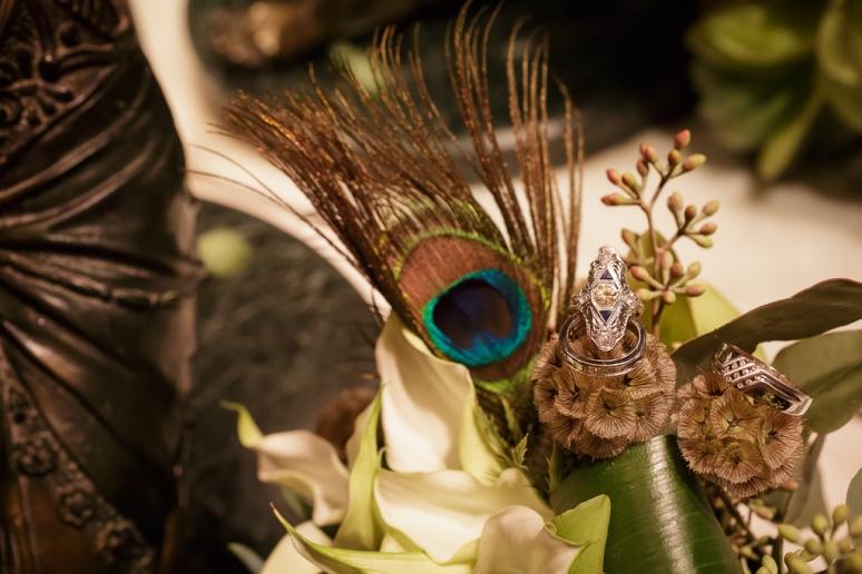 Downtown Los Angeles Wedding Photographer Antique Art Deco Wedding Ring 1928 Cicada Restaurant