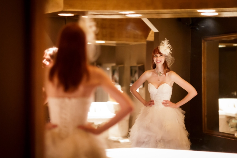 Downtown Los Angeles Wedding Photographer Bride Looking in the Mirror at the Cicada Restaurant