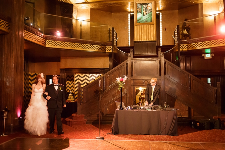 Downtown Los Angeles Wedding Photographer Bride & Groom's Grand Entrance at the Art Deco 1928 Cicada Restaurant