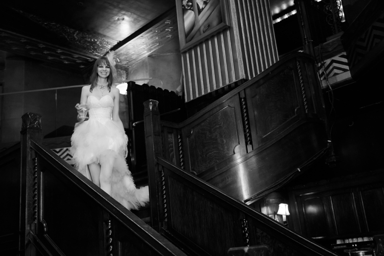 Downtown Los Angeles Wedding Photographer Bride Enters in Zuhair Murad Gown at the Art Deco Cicada