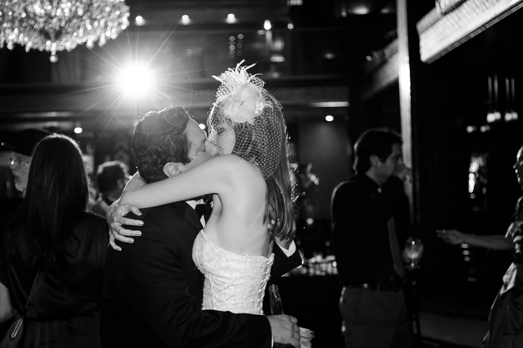 Downtown Los Angeles Art Deco Wedding Photographer Bride & Groom Kissing at the Cicada