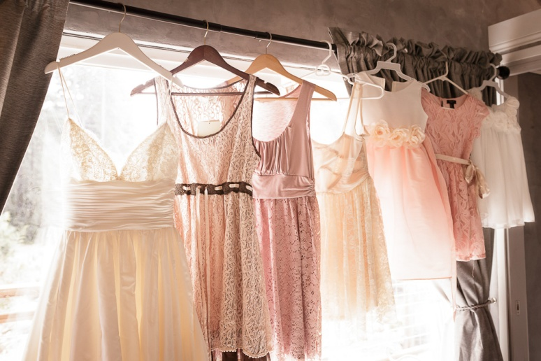 Mismatched Pink and Peach Vintage Bridesmaids Dresses at Santa Cruz Castle House and Gardens Wedding