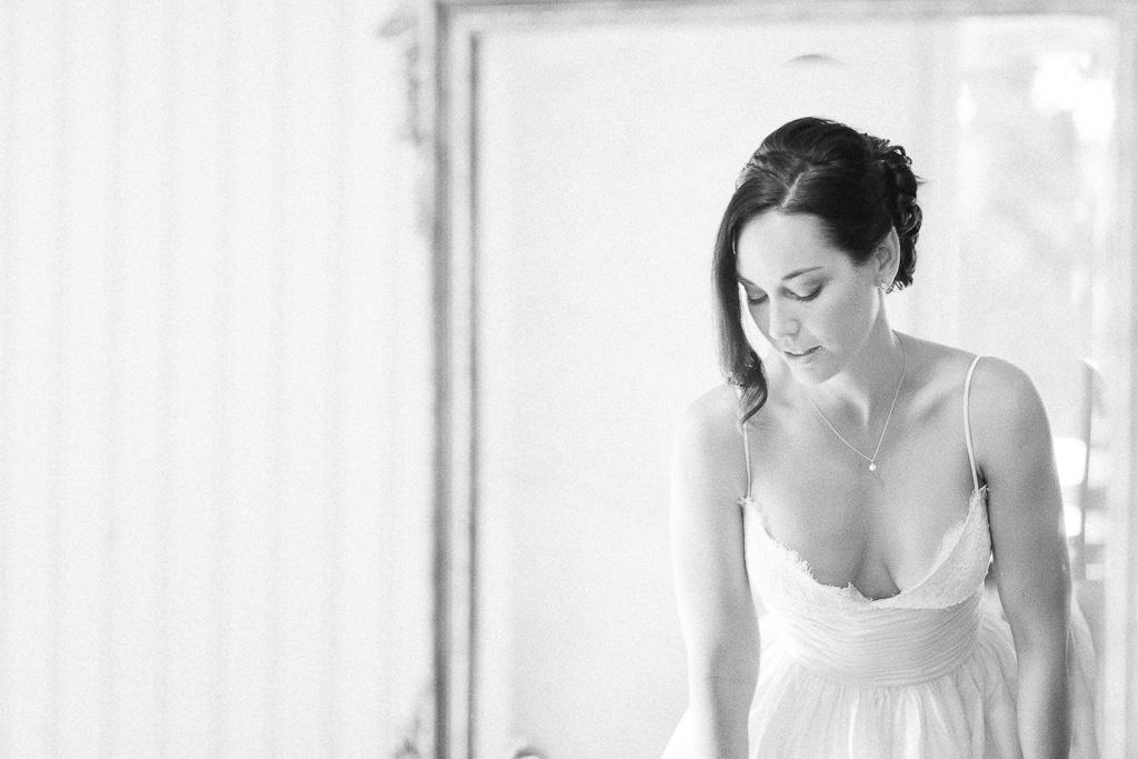 Santa Cruz Castle House and Gardens Wedding Photographer Candid shot of bride getting ready