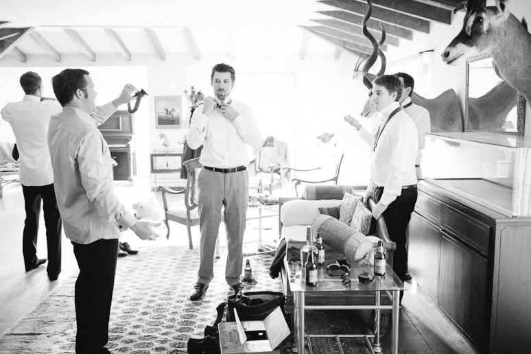 Groomsmen getting dressed at the Santa Cruz Castle House and Gardens Wedding