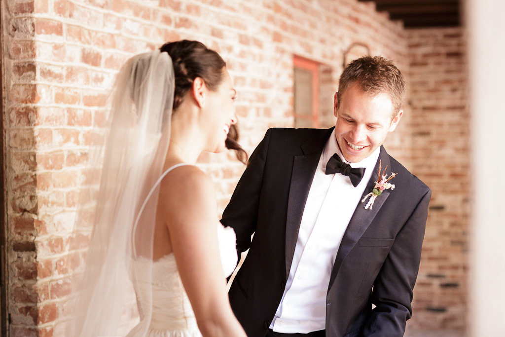 Santa Cruz Castle House and Gardens Wedding Photographer Groom seeing bride for the first time