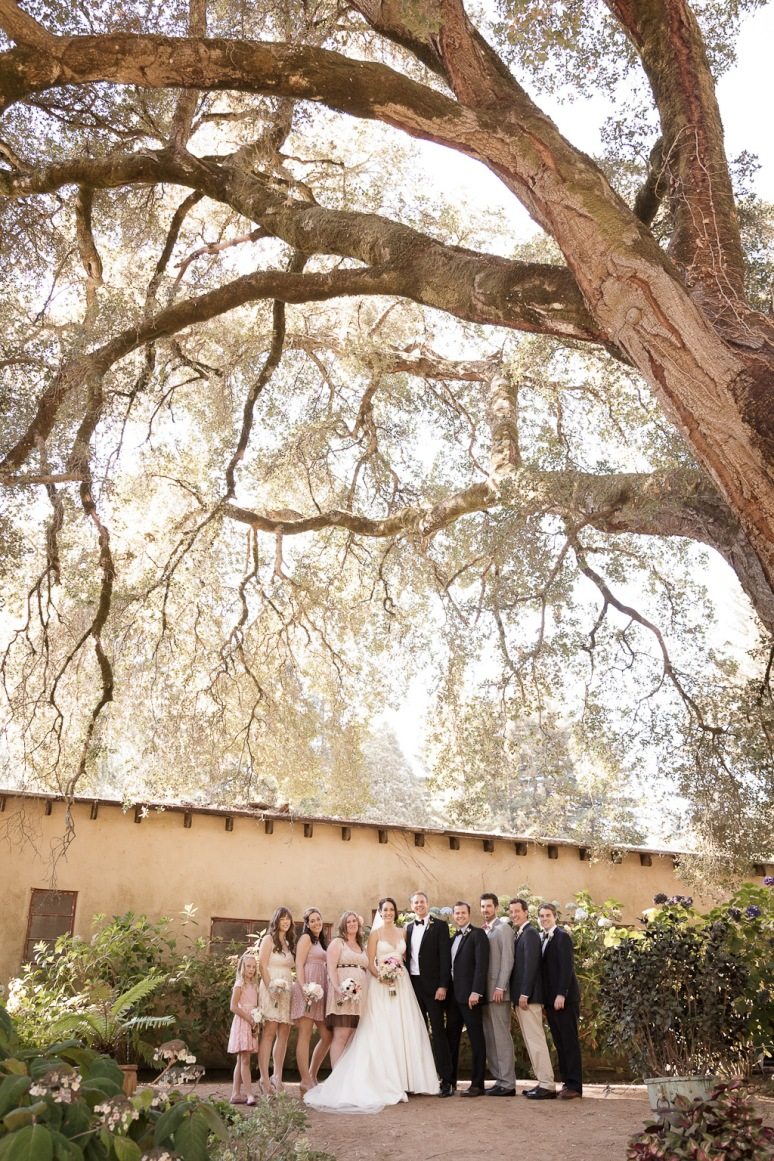 Wedding Party under the oak tree at the Castle House and Gardens on Bonny Dune Road