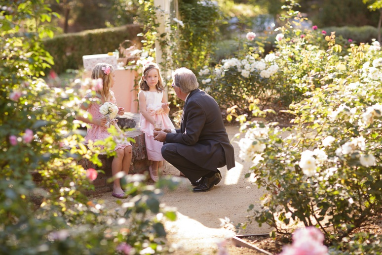 Santa Cruz Wedding Photographer Castle House and Gardens bride's father with the flowergirls