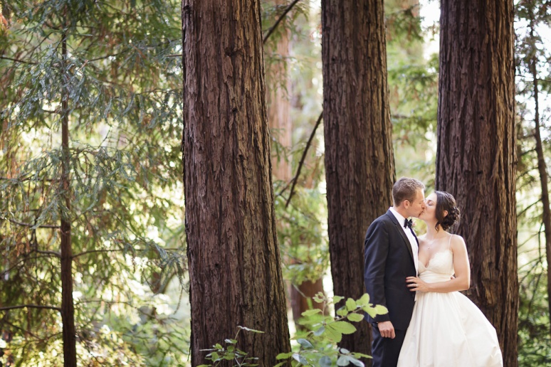 Bride and Groom in a redwood forest at the Castle House and Gardens in Santa Cruz