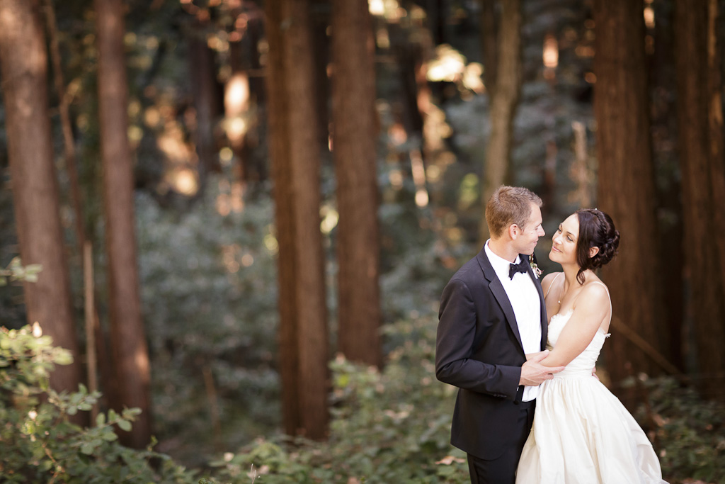 Santa Cruz Wedding Photographer Bride and Groom in a redwood forest at the Castle House and Gardens