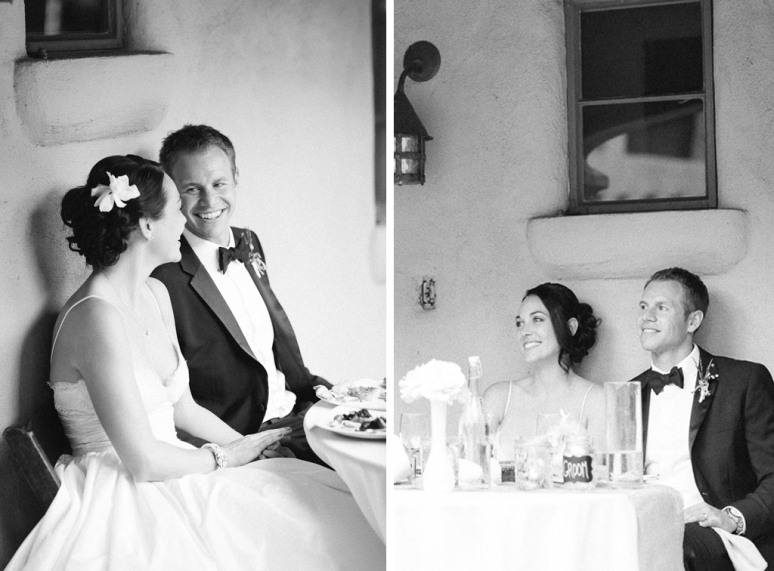 Santa Cruz Wedding Photographer bride and groom watching toasts at the Castle House and Ga