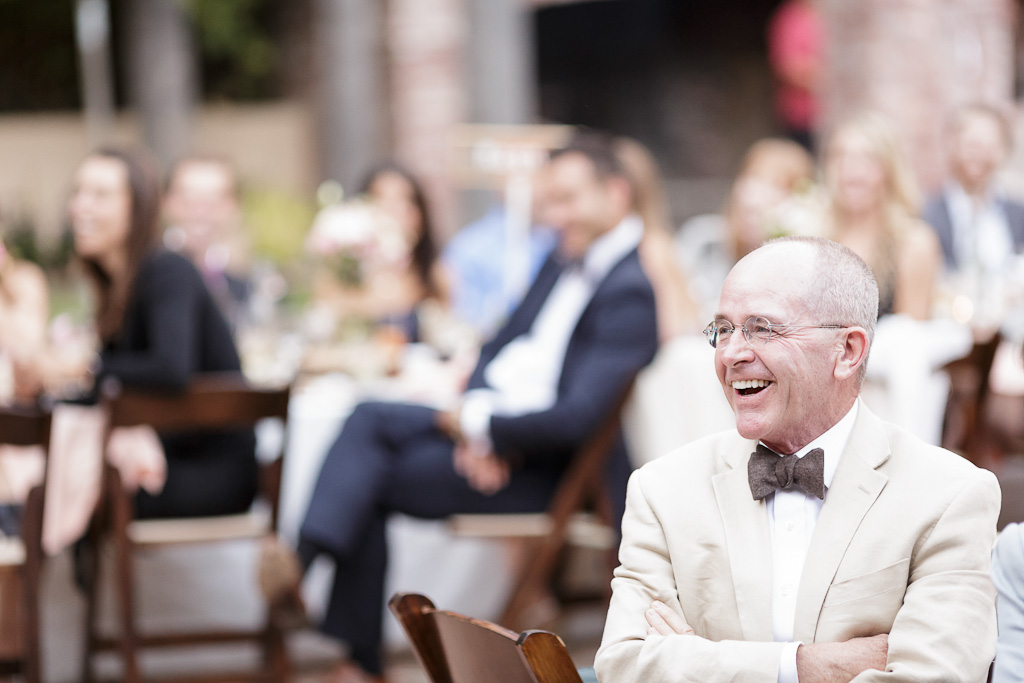 Santa Cruz Wedding Photographer father watching toasts at the Castle House and Ga