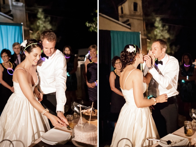 Bride and Groom Cutting the Cake at the Castle House and Gardens in Santa Cruz Wedding Photographer